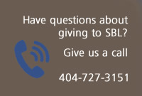Text Box: Have questions about giving to SBL? Give us a call! 404-727-3151